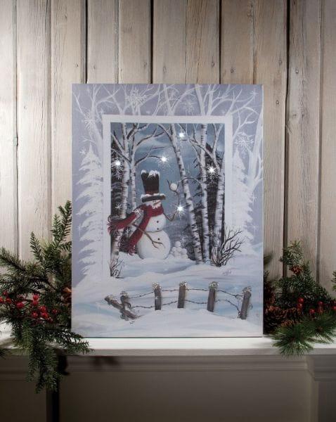 LED Canvas Bild Lighted Frosty's Snowball