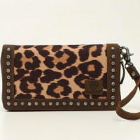 Ariat Ladies Leopard Print and Studded Brown Leather Clutch