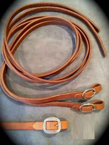 Buckaroo Premium Heavy Leather Split Rein 1/2 with engraved Buckles
