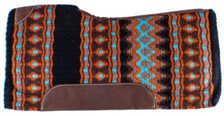 Showman Turquoise and Black Memory Felt Contoured Saddle Pad