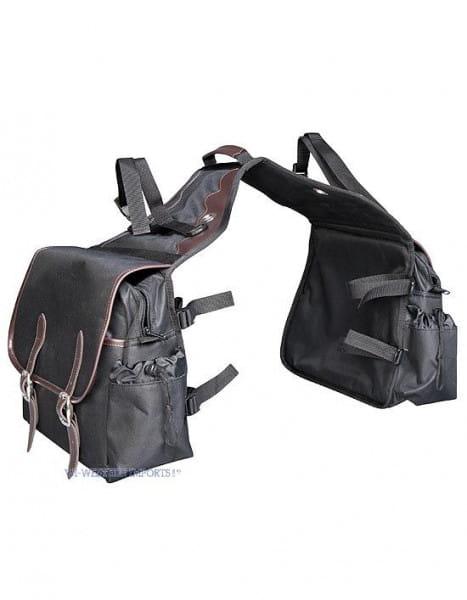 Schwarze Satteltasche mit Lederapplikationen