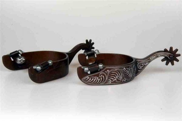 Lami-Cell mens Antique Floral Engraved Spurs