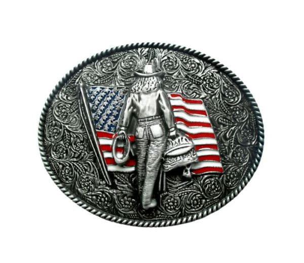 Buckle- USA Flag Cowgirl