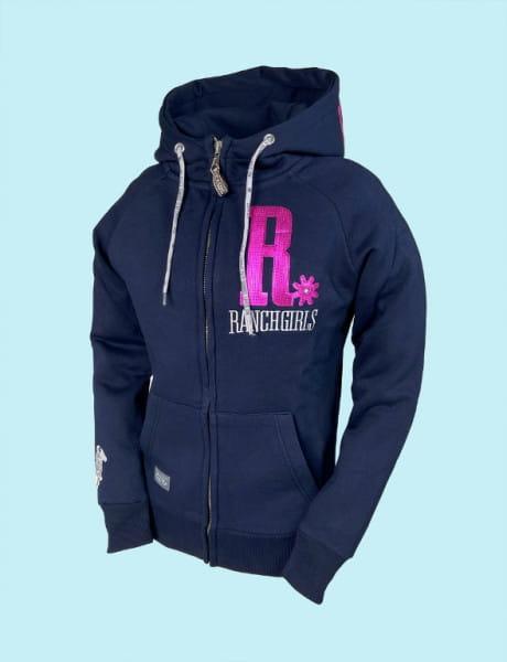 Ranchgirl Hooded Jacket Shiny dark blue   neon pink