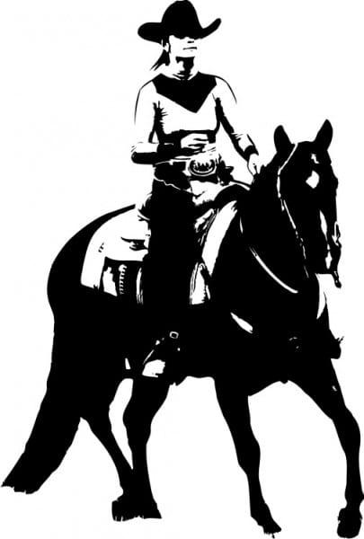 Western-Aufkleber Reiterin