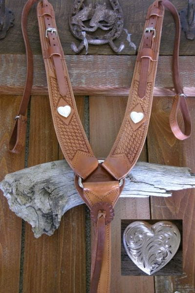 Buckaroo Pulling Breast Collar Heart Concha basketpunziert